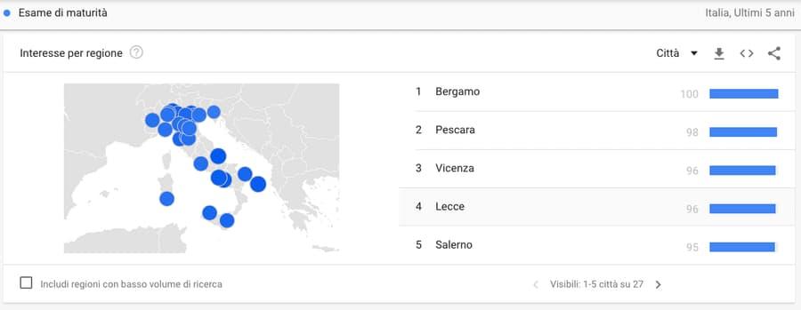 Google Trends ricerca per città