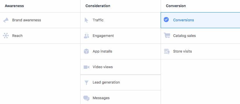 obiettivi annunci su Facebook